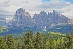 Montanhas de Sassolungo e de Sassopiatto vistas de Alpe de Siusi acima de Ortisei, Val Gardena foto de stock royalty free