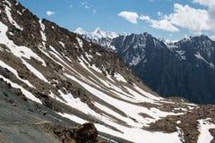 Montanhas de Tian Shan da passagem de Telety em Kirghizia, paisagem Imagens de Stock Royalty Free