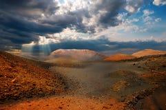 Montanhas do incêndio, Timanfaya, Lanzarote Imagens de Stock Royalty Free