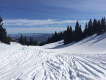 Montanhas do inverno completamente da neve fotos de stock