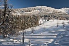 Montanhas do inverno - monte do hora de Luksinec e de Lysa Fotos de Stock Royalty Free