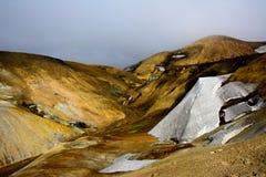 Montanhas do Rhyolite no passeio na montanha do laugavegur Fotografia de Stock