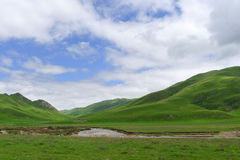 Montanhas do verão sob o céu azul fotos de stock royalty free