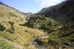 Montanhas e água no vale de Tena, Pyrenees Urdiceto Foto de Stock Royalty Free