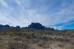 Montanhas e árvore no deserto perto de uma estrada Imagens de Stock