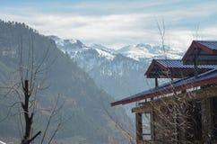 Montanhas e árvores de Manali imagens de stock