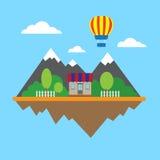Montanhas e construção Imagens de Stock Royalty Free