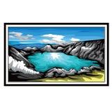 Montanhas e crateras Ijen Indonésia, arte do vetor ilustração royalty free