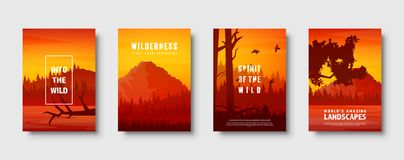 Montanhas e paisagem selvagem da natureza da floresta Curso e aventura Panorama Nas madeiras Linha do horizonte r ilustração royalty free