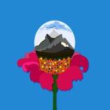 Montanhas em uma bola com flor Fotografia de Stock Royalty Free