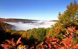 Montanhas enchidas névoa Fotos de Stock Royalty Free