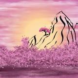Montanhas esquemáticas e florescência ilustração do vetor
