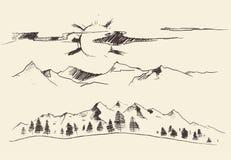 Montanhas Forest Contours Engraving Vetora Imagem de Stock Royalty Free