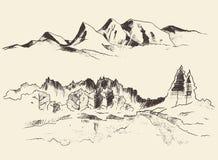 Montanhas Forest Contours Engraving Vetora Fotos de Stock