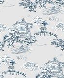 Montanhas japonesas do pinho do teste padrão do vetor da opinião do templo imagem de stock royalty free