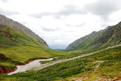 Montanhas, lagos, lago da montanha, Sibéria, Baikal, noite, Rússia, viagem, árvores, rochas, pedras, cenário imagens de stock