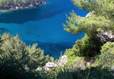 Montanhas Mallorca de Tramuntana da opinião do mar Foto de Stock