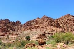 Montanhas marrons enormes no deserto fotografia de stock