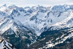 Montanhas nevado com uma vegetação verde Imagem de Stock