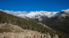 Montanhas nevado e bola do mundo Imagem de Stock