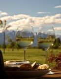 Montanhas nevado vistas através dos vidros de vinho Foto de Stock