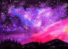 Montanhas no fundo do cosmos Foto de Stock