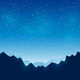 Montanhas no fundo estrelado do céu ilustração do vetor