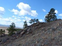 Montanhas, nuvens e madeira Fotos de Stock Royalty Free
