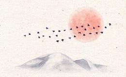 Montanhas, pássaros e lua da aquarela ilustração do vetor