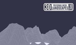 Montanhas poligonais da abstração roxa pálida Imagens de Stock Royalty Free