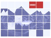 Montanhas poligonais da grade abstrata roxa do fundo com ins vermelho Foto de Stock Royalty Free