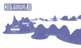 Montanhas poligonais roxas em um fundo branco Fotografia de Stock Royalty Free