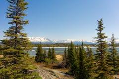 Montanhas que fornecem um contexto para um lago thawing em Alaska imagem de stock