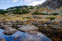 Montanhas refletidas no lago Imagens de Stock