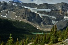 Montanhas Rochosas canadenses Geleira da aranha e lago bow Imagens de Stock Royalty Free