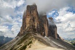 Montanhas, Tre Cime Fotos de Stock Royalty Free