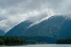 Montanhas verdes e nebulosas Fotografia de Stock