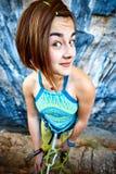 Montanhista da menina na parte superior Fotografia de Stock