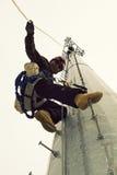 Montanhista da torre da pilha Fotos de Stock