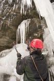 Montanhista de gelo Imagens de Stock