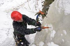 Montanhista de gelo Foto de Stock