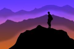 Montanhista de montanha na cimeira Imagem de Stock