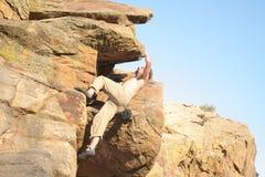 Montanhista de rocha fotografia de stock