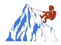 Montanhista de rocha do logotipo Fotos de Stock
