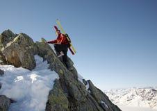 Montanhista do inverno Imagens de Stock