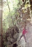 Montanhista na luz traseira Fotos de Stock Royalty Free
