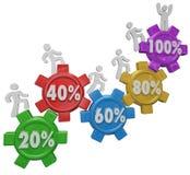 Montanhistas da engrenagem que alcançam 100 por cento Gal Achieved Success superior Foto de Stock