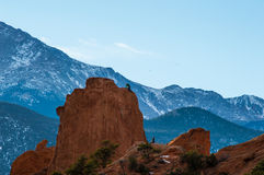 Montanhistas de rocha na torre de Montezuma no jardim dos deuses Imagem de Stock Royalty Free
