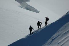Montanhistas na montagem Blanc Fotografia de Stock
