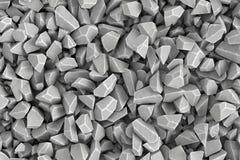 Montant considérable de rendu de pierres se situant ensemble dans le désordre, vue supérieure Photographie stock libre de droits
